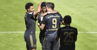 Robert Lewandowski, Serge Gnabry, Kingsley Coman Bayern Munich v Augsburg May 2021