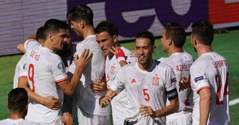 Spain celebration v Slovakia, Euro 2020, June 2021