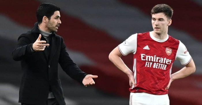 Mikel Arteta in duscussion with Kieran Tierney, Arsenal, February 2021