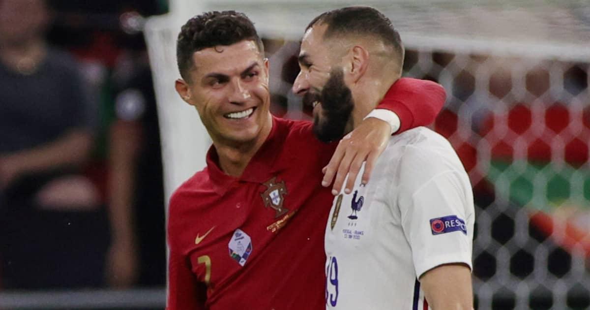 Cristiano Ronaldo embracing Karim Benzema, Portugal v France, Euro 2020