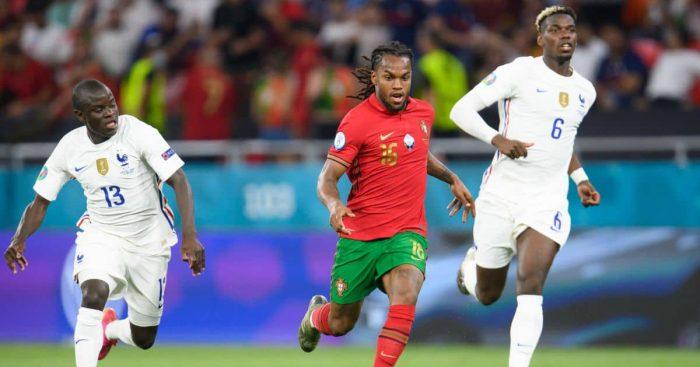 Renato Sanches, N'Golo Kante, Paul Pogba Portugal v France Euro 2020