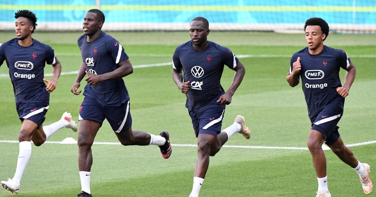 Jules Kounde, Kurt Zouma, Kingsley Coman, Moussa Sissoko France training Euro 2020