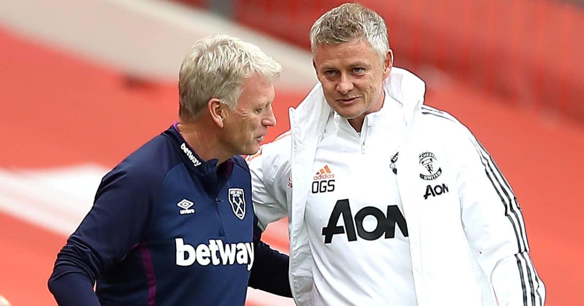 David Moyes in conversation with Ole Gunnar Solskjaer, West Ham v Man Utd, July 2020