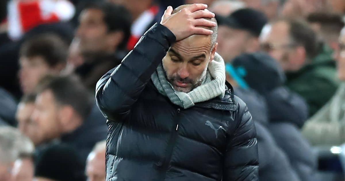 Pep Guardiola frustrated Man City v Liverpool November 2019