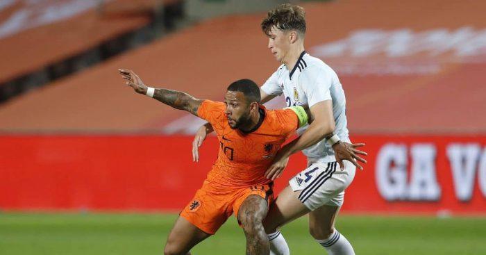 Jack Hendry, Memphis Depay Netherlands v Scotland friendly June 2021