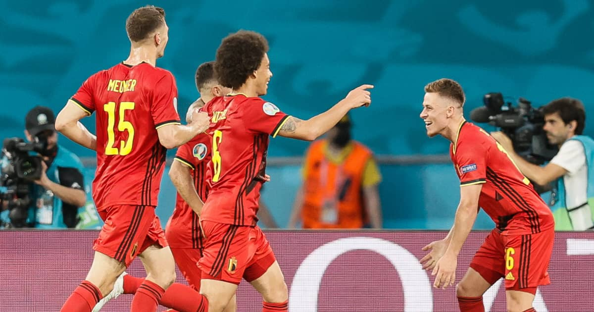 Thorgan Hazard celebration, Belgium v Portugal, Euro 2020
