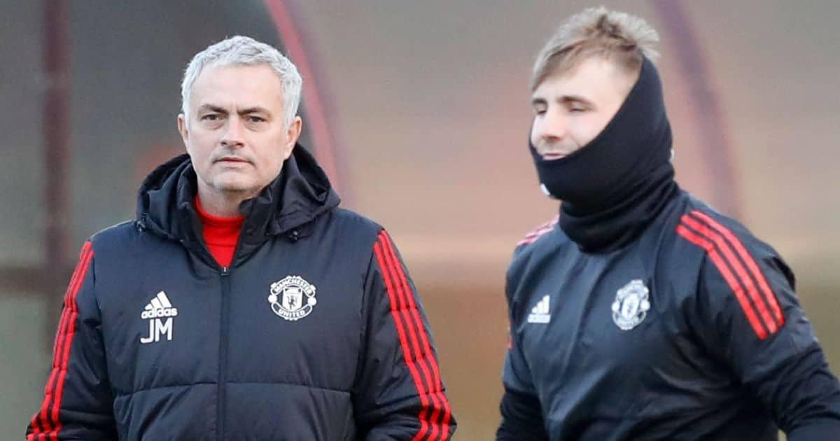 Jose Mourinho, Luke Shaw, Man Utd training