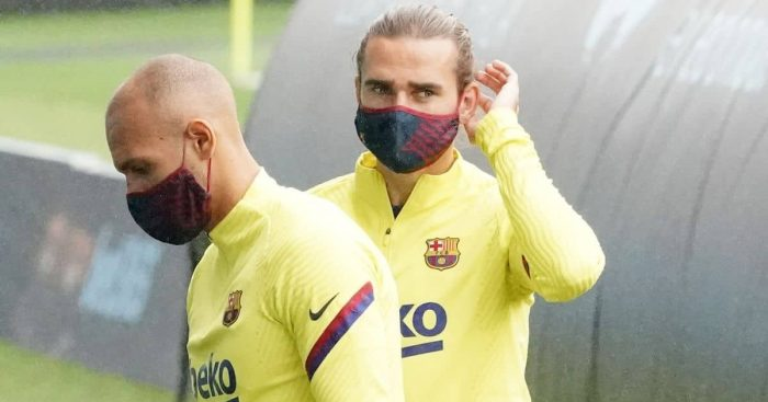 Martin Braithwaite, Antoine Griezmann, Barcelona training