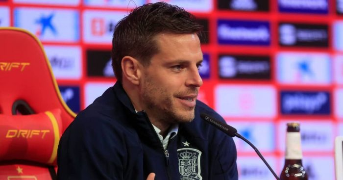 Azpilicueta during Spain press conference