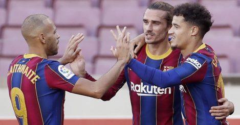 Martin Braithwaite celebrating with Antoine Griezmann and Philippe Coutinho, Barcelona, November 2020