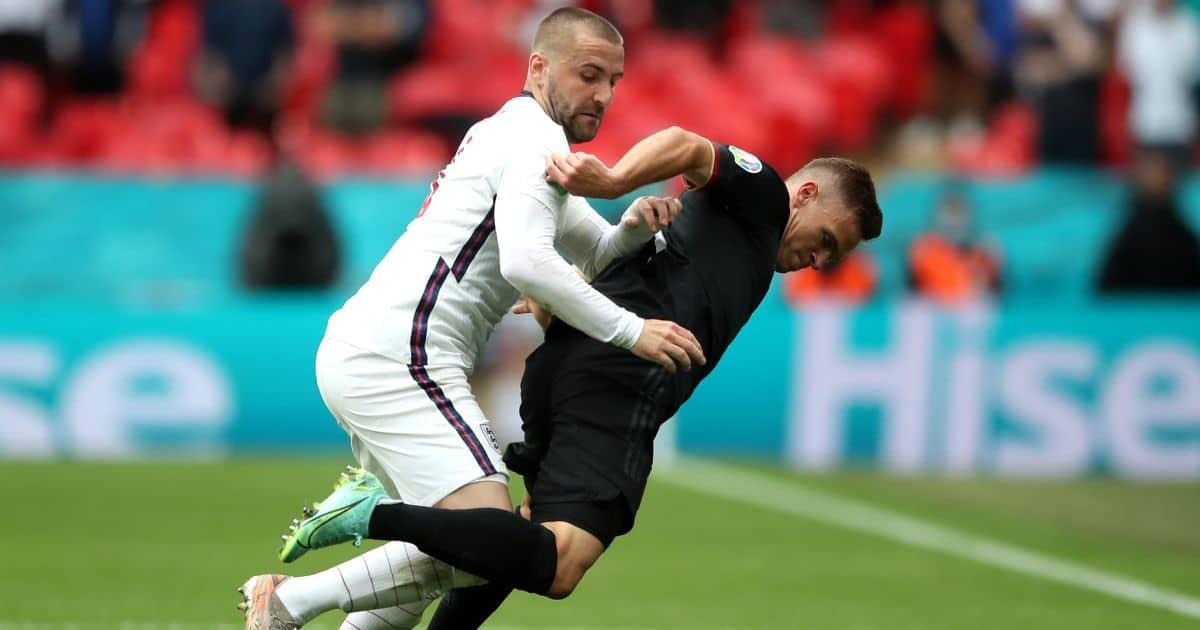 Luke Shaw tackles Toni Kroos, England v Germany Euro 2020
