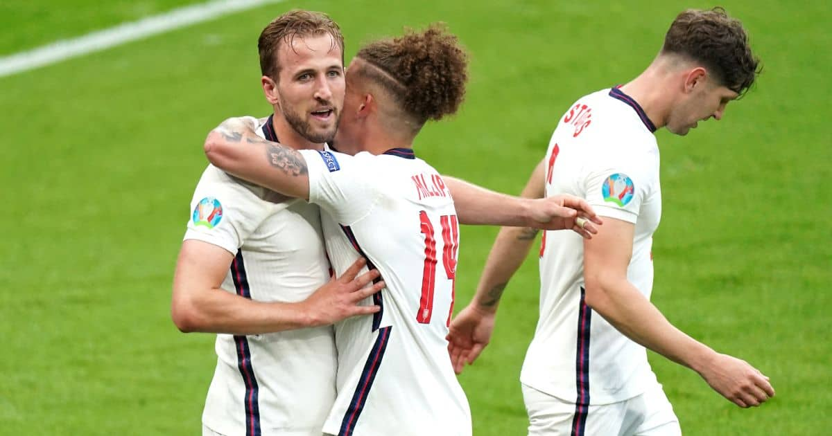 Harry Kane, Kalvin Phillips, John Stones celebrate England v Germany Euro 2020