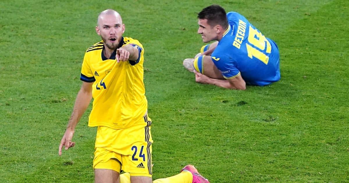 Marcus Danielson, Artem Besyedin red card Sweden v Ukraine Euro 2020