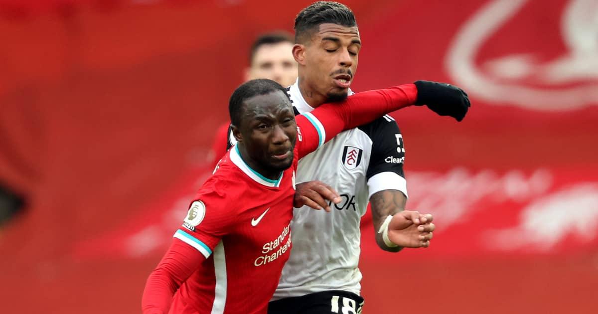 Naby Keita battling with Mario Lemina, Liverpool v Fulham