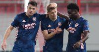 Granit Xhaka, Martin Odegaard and Bukayo Saka, Arsenal