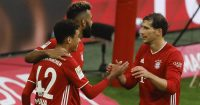 Jamal Musiala celebrating with Leon Goretzka, Bayern Munich
