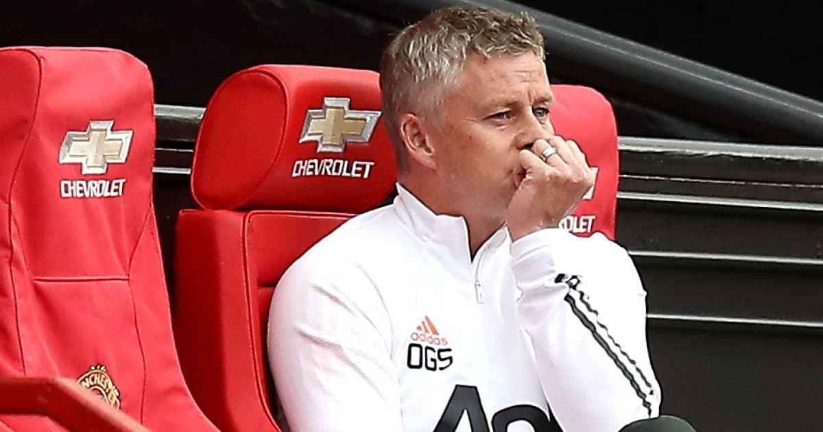 Ole Gunnar Solskjaer looking worried, Manchester United