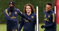 Alexandre Lacazette training with Arsenal teammates Matteo Guendouzi and Pierre-Emerick Aubameyang,