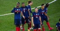 Paul Pogba, Presnel Kimpembe, Adrien Rabiot celebrate France v Switzerland Euro 2020