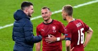 Declan Rice speaking with West Ham teammates Vladimir Coufal and Tomas Soucek, England v Czech Republic