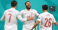 Jordi Alba celebration, Spain v Switzerland, Euro 2020