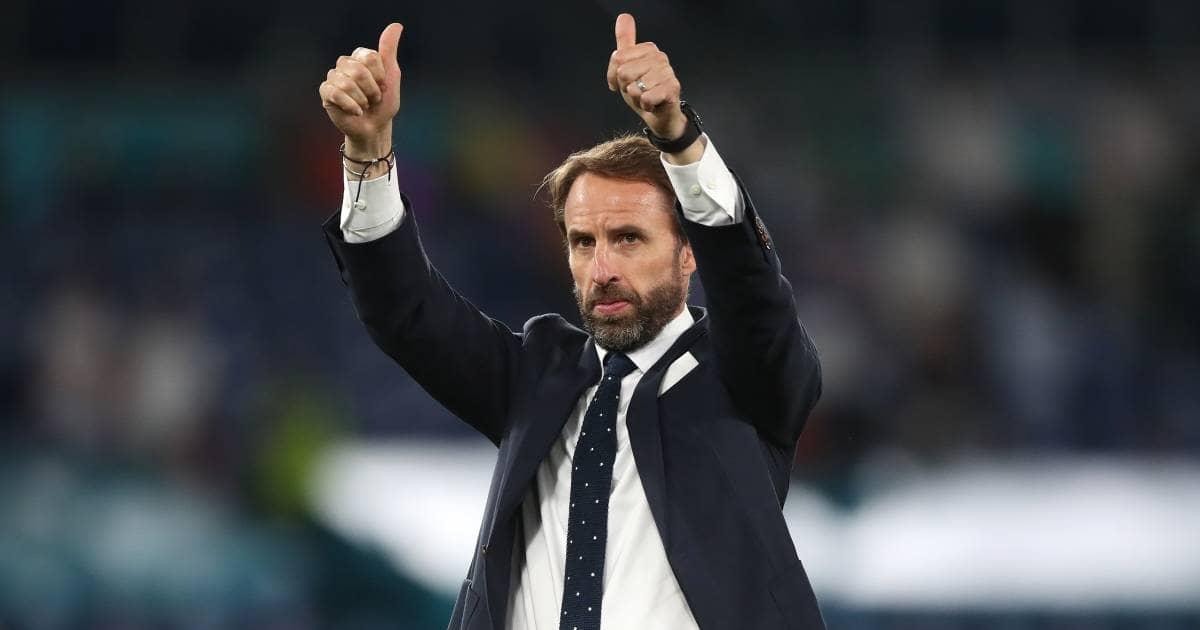 Gareth Southgate thumbs up England v Ukraine TEAMtalk