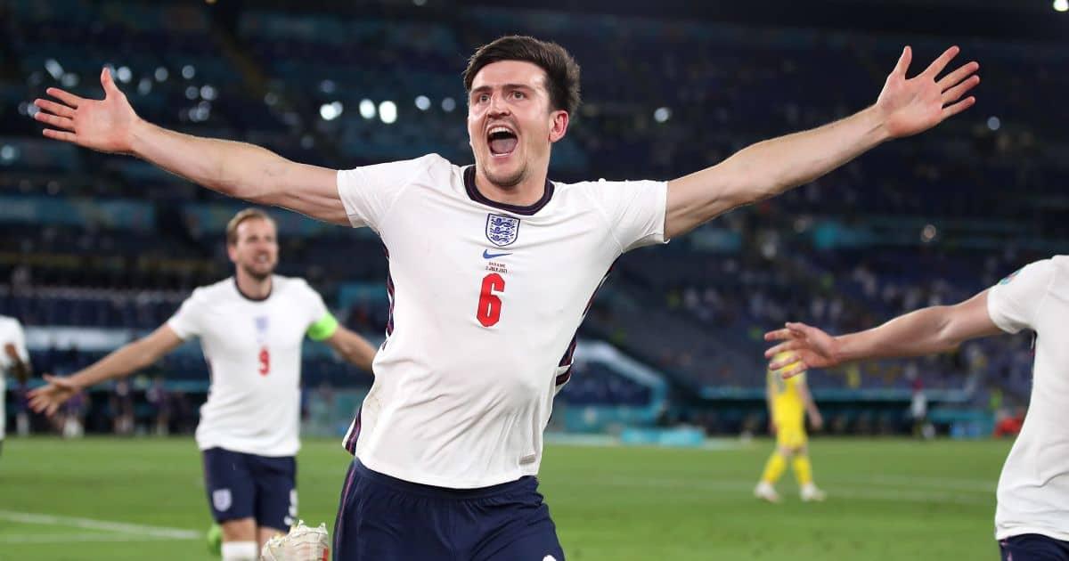 Harry Maguire celebrates scoring Ukraine v England Euro 2020