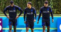 Donyell Malen, Denzel Dumfries, Jurrien Timber Netherlands training Euro 2020