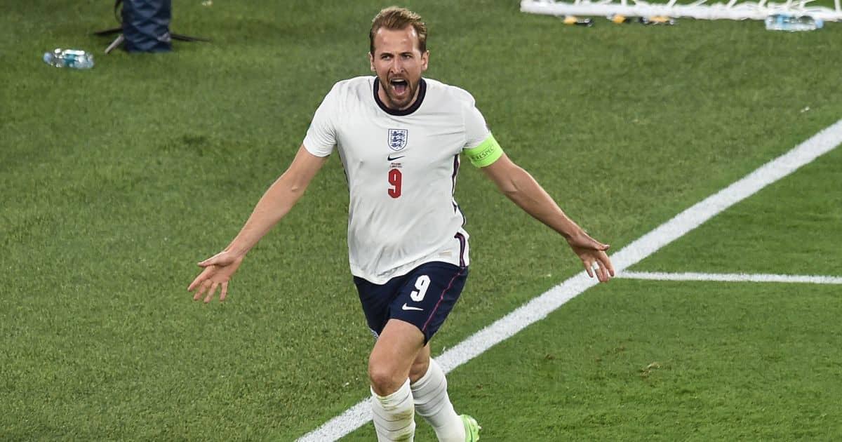 Harry Kane celebrates scoring Ukraine v England Euro 2020