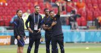 Donyell Malen, Jody Gakpo, Denzel Dumfries, Patrick van Aanholt Netherlands v Austria Euro 2020
