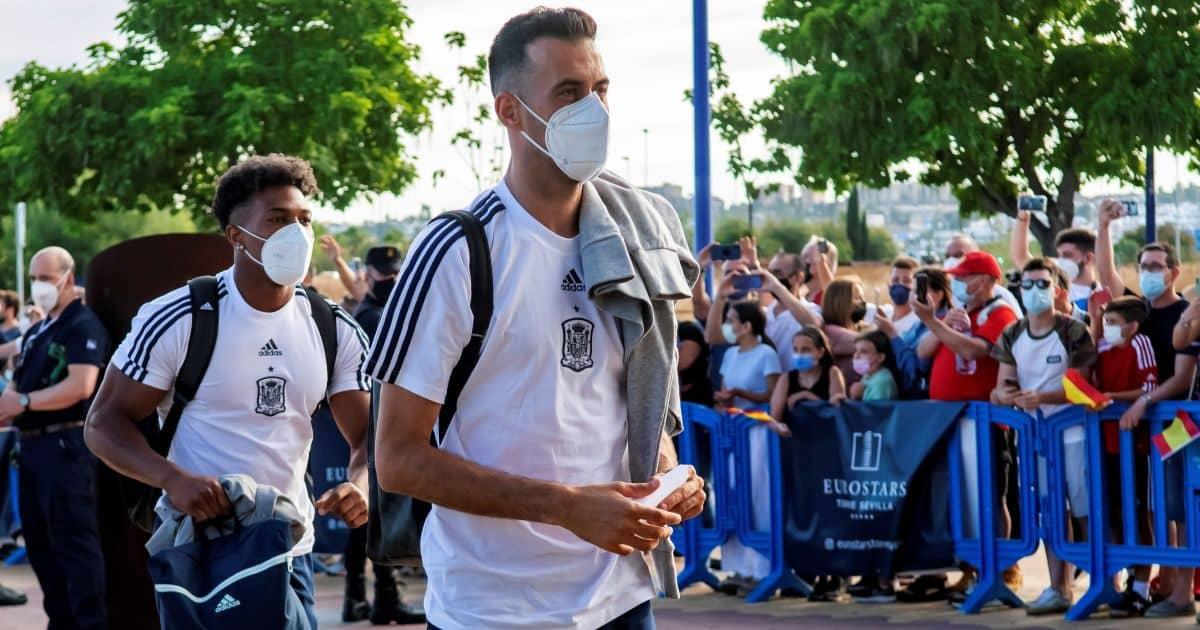 Adama Traore, Sergio Busquets Spain v Poland Euro 2020