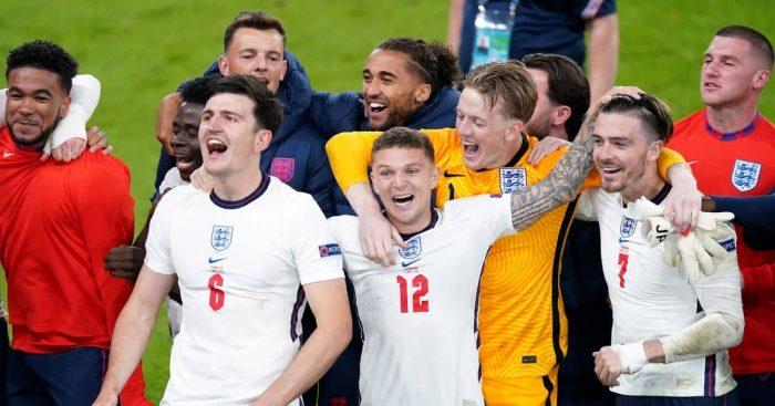 Jordan Pickford, Harry Maguire, Jack Grealish England v Denmark Euro 2020
