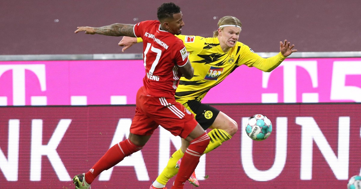 Erling Haaland tussling with Jerome Boateng, 2021