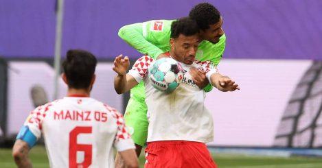 Maxence Lacroix, Karim Onisiwo, Danny Latza Wolfsburg v Mainz May 2021