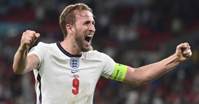 Harry Kane celebrates England v Denmark Euro 2020