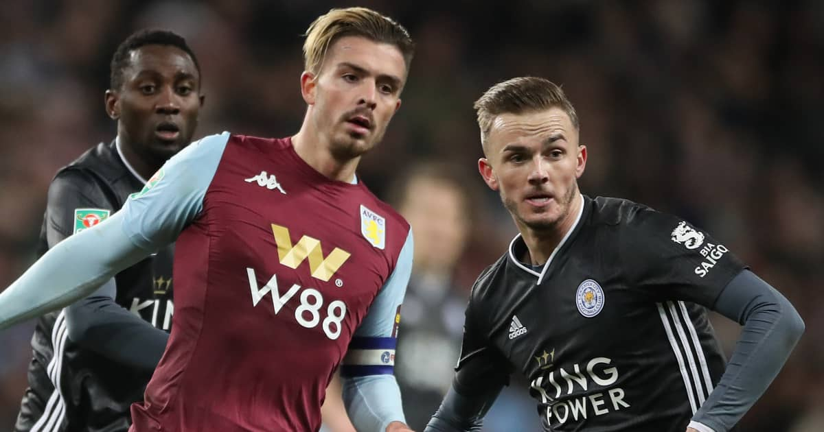 Jack Grealish tussling with James Maddison, Aston Villa v Leicester, 2020