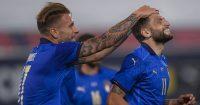 Ciro Immobile celebrating with Domenico Berardi, Italy, Euro 2020