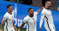 Kieran Trippier and Kyle Walker celebrating with Luke Shaw, England v Italy, Euro 2020 final
