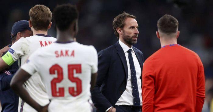 Gareth Southgate, Bukayo Saka, Harry Kane Italy v England Euro 2020