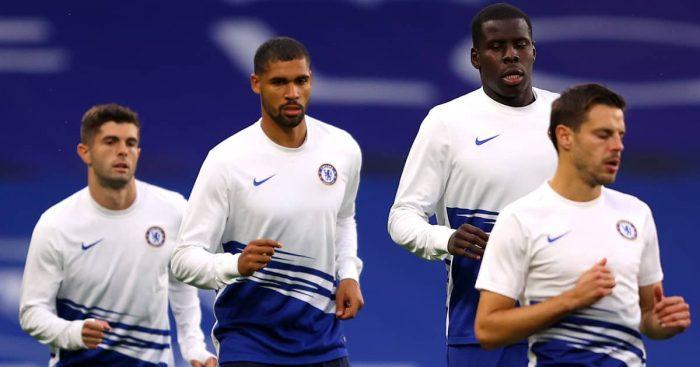 Christian Pulisic, Ruben Loftus-Cheek, Kurt Zouma and Cesar Azpilicueta in Chelsea training, June 2020