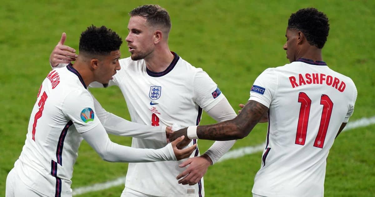 Marcus Rashford, Jadon Sancho, Jordan Henderson Italy v England Euro 2020