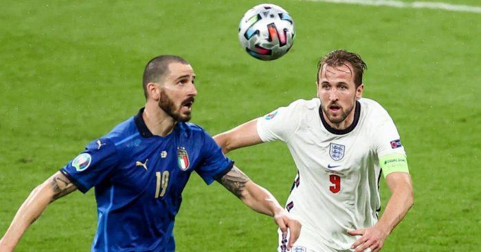 Harry Kane, Leonardo Bonucci Italy v England Euro 2020