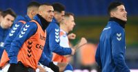 Richarlison in Everton training with James Rodriguez