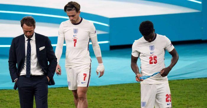 Bukayo Saka, Gareth Southgate, Jack Grealish Italy v England Euro 2020
