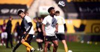 Adama Traore warms up Wolves v Burnley April 2021
