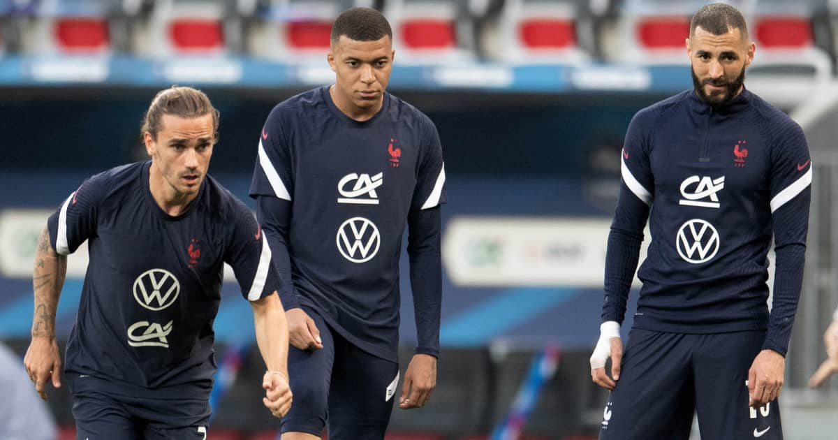 Antoine Griezmann training with France teammates Kylian Mbappe and Karim Benzema, 2021