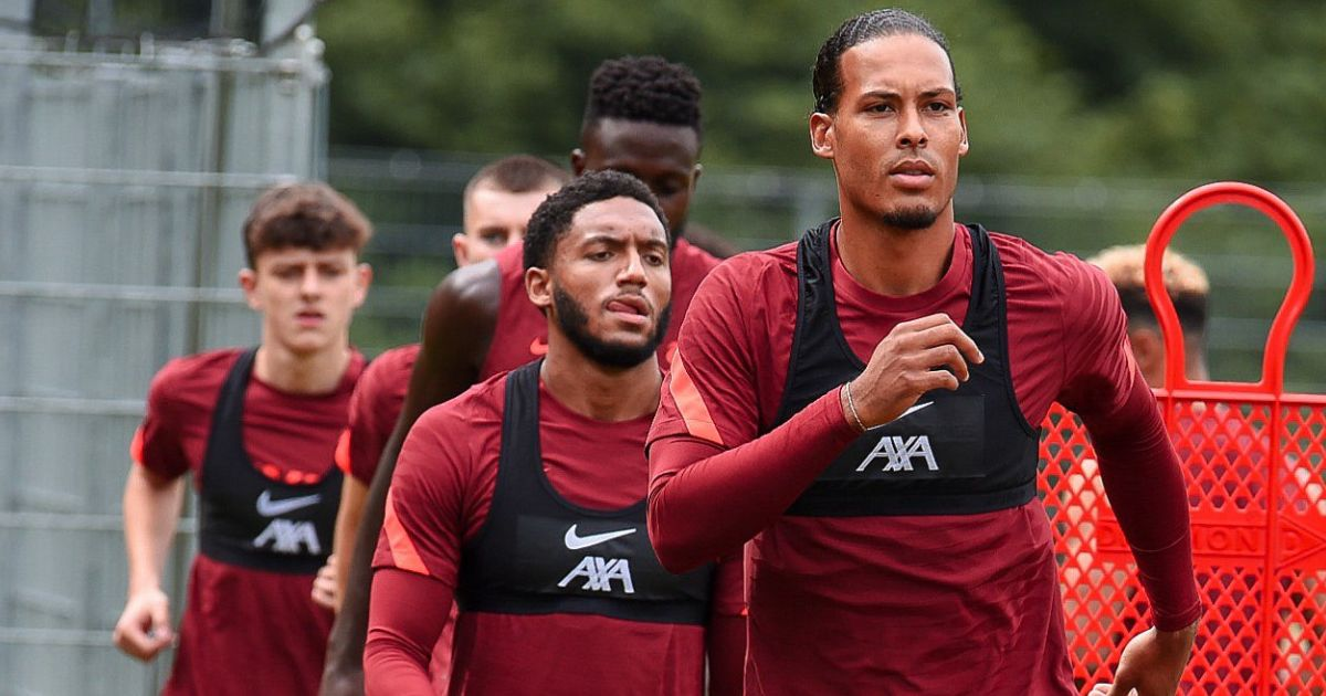 Virgil Van Dijk; Joe Gomez Liverpool training (pic from LFC)
