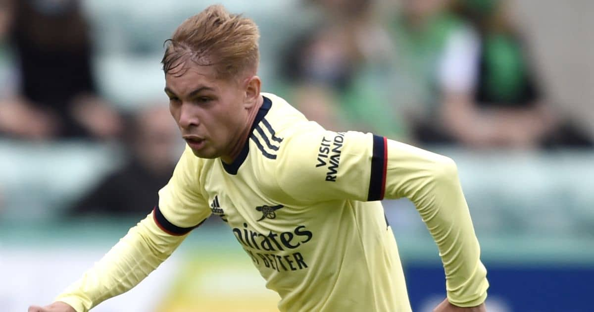 Emile Smith Rowe, Arsenal midfielder in action against Hibs