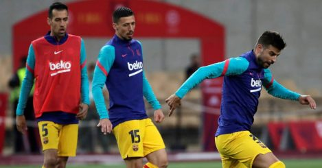 Sergio Busquets, Clement Lenglet and Gerard Pique in Barcelona training, 2021