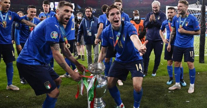 Domenico Berardi Federico Chiesa Italy Euro 2020 trophy TEAMtalk